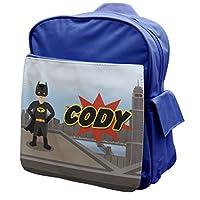 BLUE Personalised Superhero Boys Rucksack Backpack