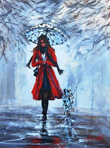OBELLA Malen nach Zahlen Kits || Rot Coat Mädchen und Dalmatiner Hund 50 x 40 cm || Malen nach Zahlen, DIGITAL Ölgemälde (Mit (Dalmatiner Kit)