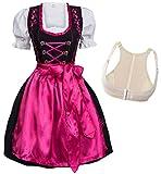Dirndl Set Glossy Nero con ricami rosa 4 pezzi: abito, blusa, grembiule e Reggiseno push-up Shaper Taglia 42 M