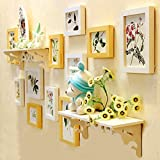 #9: WollWoll Floral Photos with Wall Shelf TV LED Background Large Photo Frame Set (138 cm x 1.6 cm x 62 cm)