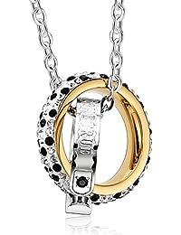 Adisaer Edelstahl Herren Damen Paar Kette Anhänger Gold Silber Rosegold  Ring Diamant Cluster Kristall Halskette mit Anhänger für… 47cef2ff12