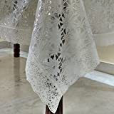 #5: Griiham Venyl Cream Base 6 Seater Table Cover with Floral Self Design all over with heavy Lace border