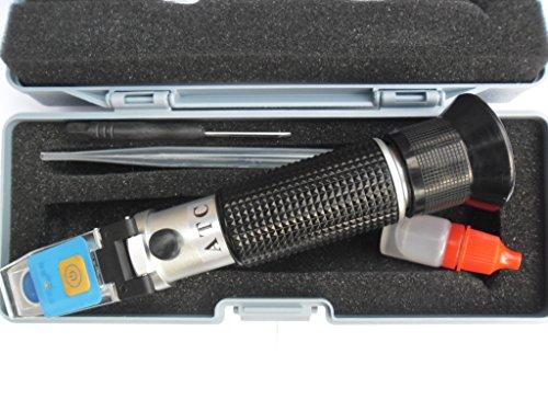 LED Refraktometer ADBLUE Frostschutz Scheibenwasser ATC Batteriesäure Solaranlage Batterie KFZ mit KALIBRIERFLÜSSIGKEIT 3033