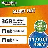 Klarmobil Allnet Flat L mit 3 GB Internet Flat max. 21,6 MBit/s, Telefonie- und SMS-Flat in alle dt. Netze, EU-Flat, 24 Monate Laufzeit, 11,99 EUR monatlich, Triple-Sim-Karten