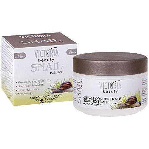 Victoria Beauty – Gesichtscreme mit Schnecken-Extrakt – Schneckenschleim Creme gegen Falten und Augenringe (1 x 50 ml) –  Augencreme mit Anti-Aging und Anti-Falten Wirkung – gleicht Hauttöne aus, befeuchtet tief und verlangsamt den Alterungsprozess
