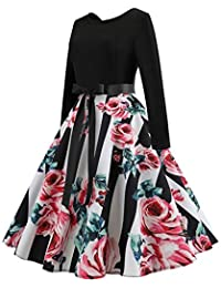 6e23d6565937 Long Sleeve Druck Vintage FLARE Party Kleid Fall   Winter A-Line Flare Midi  Lang schlichtes Sommer Geburtstag Charming Suit Friend  s…