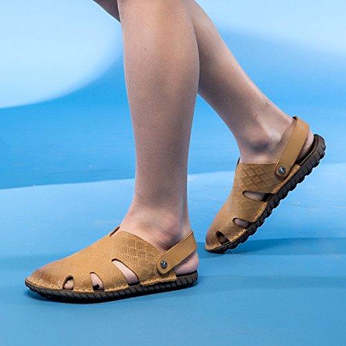 LXXAMens Estate Spiaggia Peso Leggero Facile Fissare Sandalo Maschio Pantofola Scarpe Da Esterno Due Utilizzi Yellow