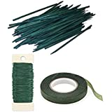 Wooden Wood Craft Picks Stakes 100 Count & 22 Gauge Paddle Wire Green Floral Tape Bundle w/Flower Crafting eGuide (8 inch Pick Bundle)