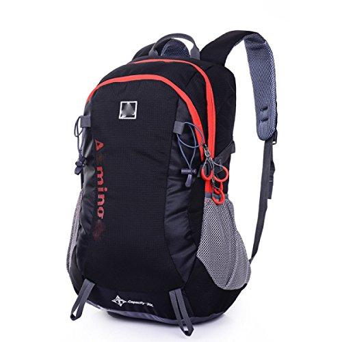 LQABW Bergsteigen Tasche Outdoor Sport Rucksack Männer Und Frauen Paar Reisen Schulter Hit Rucksack Nylon Wasserdicht Durable35L Black