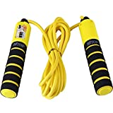 HITOP Verstellbares Kinder Springseil mit Zähler und Komfortablen Griffen für Sport Training Crossfit Boxen and Fitness (Gelb)