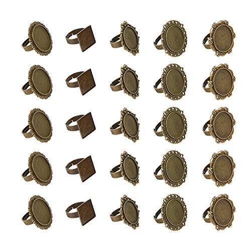 PandaHall 5 Styles 50pcs Antique Bronze Round Cabochon Ringe Einstellungen Fingerring Komponenten Eisen Cabochon Lünette Einstellungen für Ring Machen flach rund oval Platz -