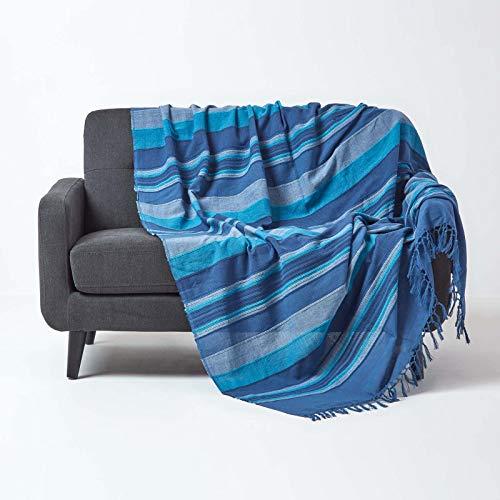 Homescapes Tagesdecke / gestreifter Sofaüberwurf Morocco in Blau 225 x 255 cm - handgewebt aus 100% reiner Baumwolle mit Fransen