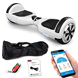 Balance Scooter 6,5 Zoll 600W-Motion V.5 mit App Funktion, Bluetooth Lautsprecher, Kinder Sicherheitsmodus, Elektro Self Balance E-Scooter, 600 Watt (Weiss)