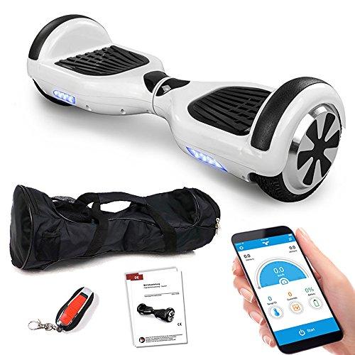 Smartway Balance Scooter 6, 5 Zoll 600W-Motion V.5 mit App Funktion, Bluetooth Lautsprecher, Kinder Sicherheitsmodus, Elektro Self Balance E-Scooter, 600 Watt (Weiss)
