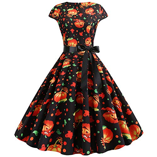 Damen Halloween Kleider Cosplay Mode Kürbis Muster Abendkleid Kurzarm Schleife hohe Taille Rundhals Reißverschluss Party Karneval Festival Kleid Schwarz L