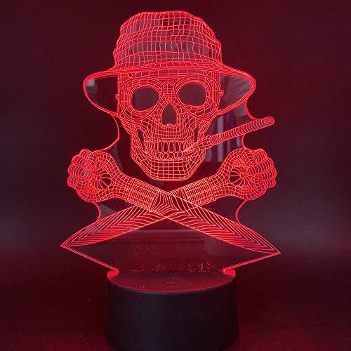 Skelett Schädel Kopf 7 Farbe Illusion Lampe Kinder Usb Berühren Sie 3D Tischlampe Halloween Weihnachten Kinder Geschenk Schlafzimmer Nachttischlampe ()