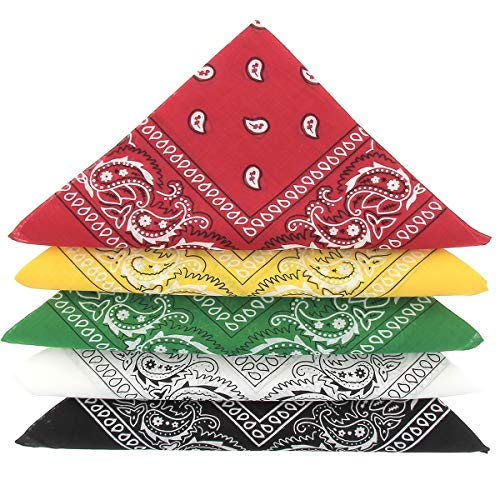 KARL LOVEN Bandanas 5er Pack 100% Baumwolle Paisley Halstuch Kopf Hals Schal (5er Pack, Grün Gelb Rot weiß Schwarz)