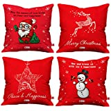 Indigifts Christmas Decorations For House Christmas Themed Holiday Décor Red Set Of 4 Cushion Cover 16x16 Inches - Christmas Cushion, Xmas Decorations, Christmas Gifts, Christmas Pillow