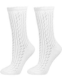 Trachten Strümpfe für Damen im Häkellook - Weiß - Kurze Söckchen zu Dirndl Tracht Lederhose Sommerkleid