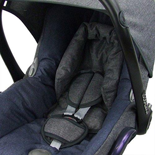 BambiniWelt Ersatzbezug für Maxi-Cosi CabrioFix 6 tlg. GRAU / MARINE *NEU* Bezug für Babyschale Sommerbezug Cabrio Fix - 4