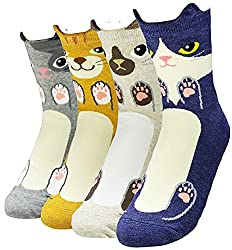 Women's Crew Socks 3-6 Pack by Happytree, Fun Cool Cats Cartoon Sweet Animal Design Cotton Blend