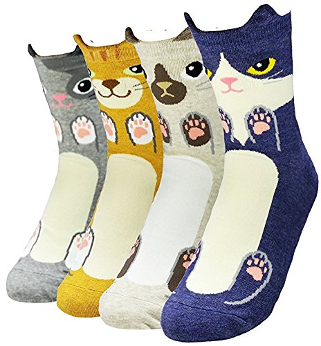 Women's Crew Socks 3-6 Pack by Happytree, Fun Cool Cats Dogs Cartoon Sweet Animal Design Good for Gift Idea One Size Fits All