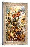 Gerahmtes Bild von Peter Paul RubensDer Engelsturz. Erzengel Michael im Kampf gegen die abtrünnigen Engel, Kunstdruck im hochwertigen handgefertigten Bilder-Rahmen, 30x40 cm, Silber Raya