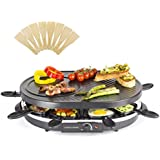 Andrew James Traditional Raclette Grill with Thermostatic Heat Control Includes Eight Raclette Spatulas