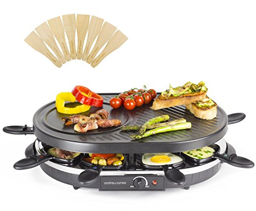 Andrew-James-Traditional-Raclette-Grill-with-Thermostatic-Heat-Control-Includes-Eight-Raclette-Spatulas