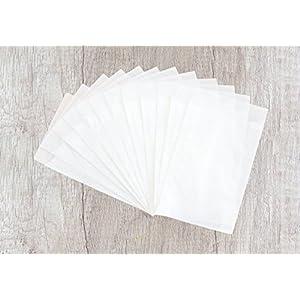 24 kleine weiße Papiertüten aus Pergamentpapier mit 6,3 X 9,3 cm, Flachbeutel, Pergamin, Schutzhüllen, Pergamintüten,