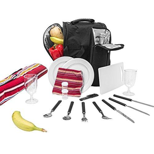 """Picknick Rucksack""""Diabolo"""" inklusive Vollausstattung Kühltasche für 2 Personen"""