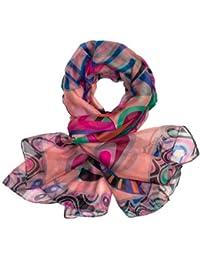 CASPAR Damen Schal / Halstuch / Tuch aus super leichtem Stoff mit bunten Farben Punkte Kreise Muster - viele Farben