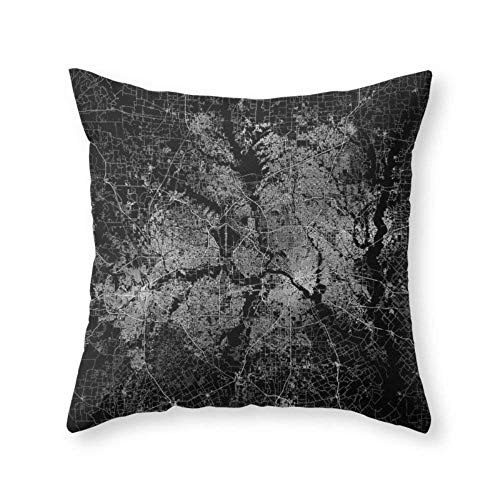 KLYDH Dallas Map Texas Throw Pillow Indoor Cover Decorative Square Individuality Pillow Case,Cover Size:18 x 18 Inch(45cm x 45cm)