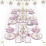 طقم ادوات مائدة مكون من 90 قطعة بلون زهري ونمط حيوان اليونيكورن، للحفلات واعياد الميلاد للاطفال تُستعمل مرة واحدة، مستلزمات ت