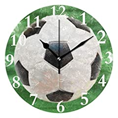 Idea Regalo - Orologio da Parete Pallone da Calcio Rotondo Silenzioso Orologio da Parete Decorativo Facile da Leggere per Casa/Ufficio/Orologio Scolastico