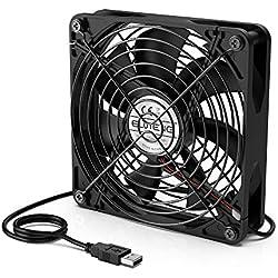 ELUTENG Ventilateur 140mm Ventilateur Silencieux 5v Ventilateur USB avec Gril en métal Mini Ventilateur Puissant pour PC/TV Box/Xbox/PS 4 Playstation