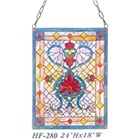 "Gweat HF-280 Tiffany Style Vitral de Lujo Ventana de Cristal Colgante Panel Sun Catcher, 24"" Hx18 W"