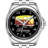 Personalisierte Herrenuhr, modisch, wasserdicht, Armbanduhr Diamond_942.Gelb und Rot VW Bug