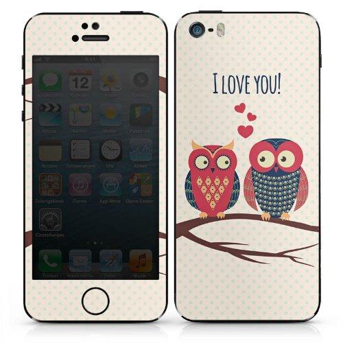 Apple iPhone SE Case Skin Sticker aus Vinyl-Folie Aufkleber Herz Eule Love DesignSkins® glänzend