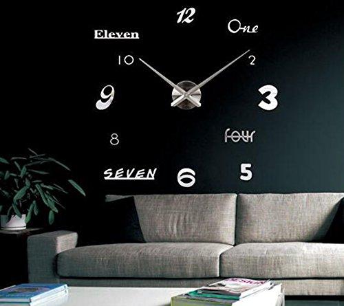 Warmcasa Mute DIY Reloj de Pared Sin Marco Espejo Decoración Moderna para Hogar Oficina Reloj Colgado con Números Adhesivos Plata