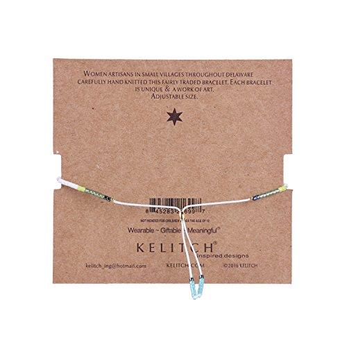KELITCH Bohemian Armband Rocailles Perlen Handmade Mehrfarbig Zart Schnur Freundschaftsarmbänder - Weiß Blau