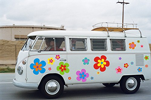 Hippie Blumen Aufkleber, Autoaufkleber Hippie 030 - in Edler Matt Optik, bunt gemischt !!