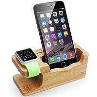 Soporte Móvil Madera, 2 en 1 Soporte iPhone y Apple Watch Soporte Dock Base para Teléfono e Smartphones como iPhone X 8 plus 7 6s 6 5s 5 4s 4 y Apple Watch 38mm 42mm Versión Actualizada