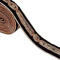 Tela Decorativa Del Ajuste Negro 3,3 Cm De Artesanía Bordada Ajuste Por El Patio