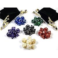 shibby 42 dados poliédricos en Multicolor para juegos de rol y mesa, incluye bolsa