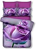 DecoKing Premium 01394 Bettwäsche 200x200 cm mit 2 Kissenbezügen 80x80 lila 3D Microfaser Bettbezug Bettwäschegarnitur Rosa Rose Blumen Blumenmuster violett Pflaume violet lilac plum Callie