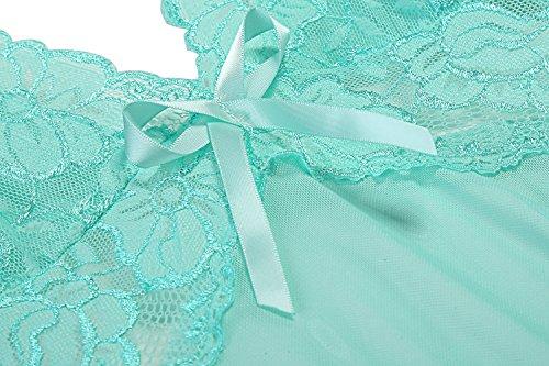 Avidlove Damen Sexy Spitze Halter Dessous Set Kreuz Rücken Transparent Babydoll mit Schleife A Leicht Blau