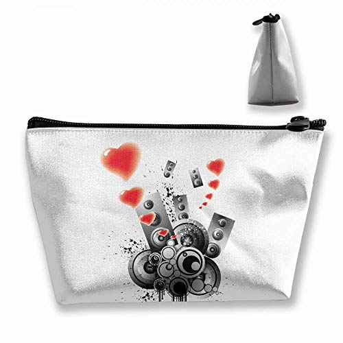 Trapez Reise Make-up Taschen Kulturbeutel Tragbare Stiftetui Fall Sound Love Makeup Bag (Caboodles Große Make-up Fall)