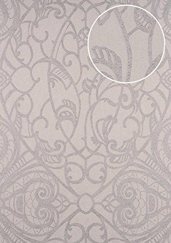 Barock Tapete ATLAS CLA-597-7 Vliestapete geprägt mit grafischem Muster glänzend silber beige-grau...