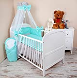 Amilian® Baby Bettwäsche 5tlg Bettset mit Nestchen Kinderbettwäsche Himmel 100x135cm Sternchen grau/Pünktchen Türkis Chiffonhimmel